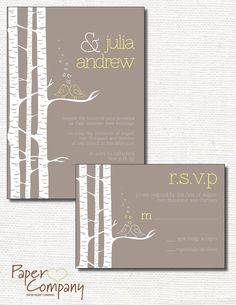 BIRCH TREE Lovebirds Wedding Save the Date/Invitation/Response Card/Reception Card/Menu/Table Numbers/Thank You Card - You Print