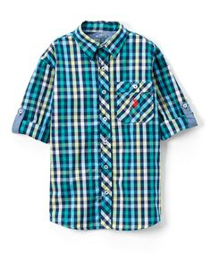 Classic Navy Roll-Up Woven Button-Up - Toddler & Boys
