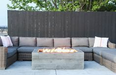 Buckshot Firepit with boardformed wood texture. Handmade to order by Concrete Wave Design in California