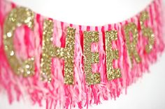Pink and Gold 'Cheers' Banner - Super cute for a bachelorette party