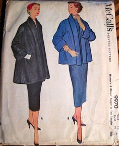 Vintage 1954 McCall's Topper Coat 2 Lengths Pattern Size 12 Bust 30