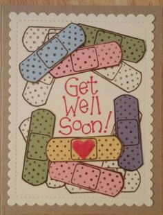 Bandaid get well card, Art Gone Wild stamps, Stampin Up paper and ink