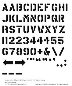 MD Military Stencil A Character Set.  Letters A through Z, with alternate A, R, numbers 0 through 1, with alternate 1s, 2s, 4s, 5s, plus sign, ampersand, backslash, forward slash, arrows, prime mark, quote mark, smart quotes, period, comma, colon, dashes.  Sample text was set in 100 point MD Military Stencil A, with 90 point leading.