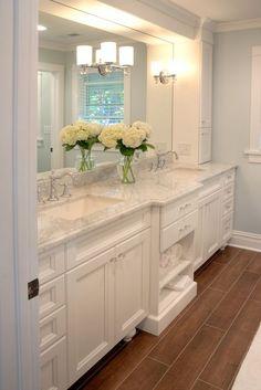 Condo Bath by michelemck Dream Bathrooms, Beautiful Bathrooms, White Bathrooms, Mansion Bathrooms, White Master Bathroom, Country Bathrooms, Master Baths, Classic Bathroom, Master Bathrooms