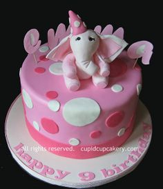 Pink Elephant Birthday Cake by Cupid Cupcakery by Cupid Cupcakery, via Flickr