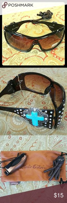 Sunglasses Rustic Couture's western bling sunglasses. Pack comes with glasses, visor clip, retainer, sunglass pouch. These also have UV 400 protection.  Great deal! Rustic Couture Accessories Sunglasses