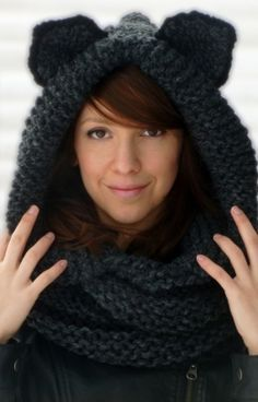 Hooded Cat Cowl, Knit Cat Ears Scarf, Cat Cowl, Animal Cowl Scarf, Hooded Infinity Scarf, Hooded Cowl, Cat Ears, Animal Cowl, Cat Beanie