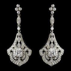 Silver Cubic Zirconia CZ Crystal Formal Prom Bridal Art Deco Chandelier Earrings