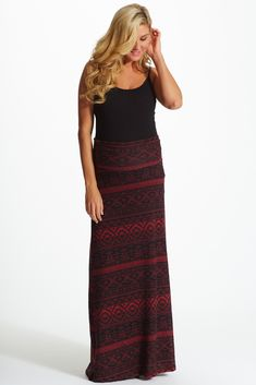 Black-Red-Printed-Maternity-Maxi-Skirt