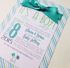 It's A Boy Striped Baby Shower Invitations by FoxOnTheMoonLLC Click to see more!