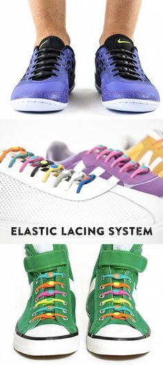 Never tie or untie your shoes again. An elastic lacing system to replace your shoelaces, they let you easily slip in and out of your sneakers while keeping them snug.