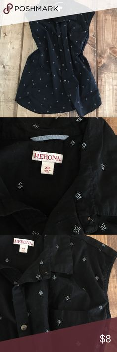 Black button up Cute design! Worn once! Merona Tops Blouses