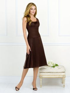 Fascinating Tea-Length A-Line Sleeveless Lowback With Ruffles Bridesmaid Dresses PDresses00497