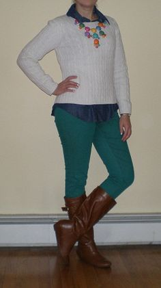Bashful Fashionista | green skinny jeans, white sweater, cognac boots, bubble necklace - cute winter casual outfit