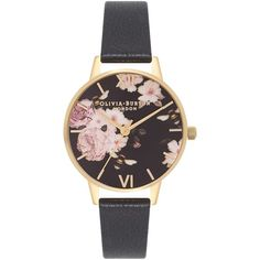Olivia Burton OB16FS80 Women's Flower Show Leather Strap Watch,... (120 CAD) ❤ liked on Polyvore featuring jewelry, watches, gold wristwatch, vintage style watches, leather-strap watches, pin jewelry and gold jewelry