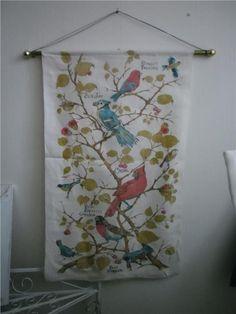 Annons på Tradera: Vintage Väggbonad linnebonad med fåglar retro
