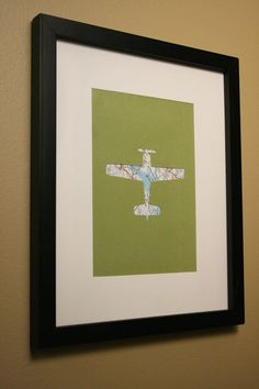 Airplane cut-out revealing map beneath, 8 x 10 - nursery or playroom decor?