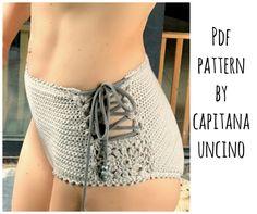 PDF-file for Crochet PATTERN, Aliyah Crochet Bikini Bottom Sizes XS-L, surfer bikini, Highwaist bottom by CapitanaUncino on Etsy