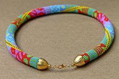 The Rainbow beaded rope necklace Bead crochet necklace by Daidija