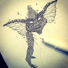 #drawing #ink #blackandwhite #penandink #shapefromhell #gremlins #horror #classichorror #dotwork #darkart #blackink #blackart #illustration