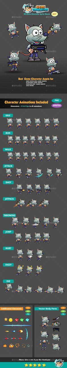 Rat Warrior Game Character Sprites 227 - Sprites #Game Assets Download here: https://graphicriver.net/item/rat-warrior-game-character-sprites-227/16467339?ref=alena994