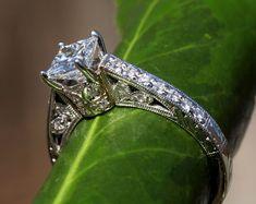 PLATINUM Princess Cut Diamond Engagement Ring  by BeautifulPetra, $5000.00