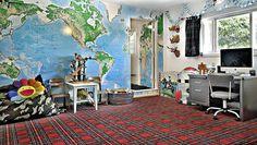 Map wall + plaid carpet