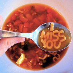 I Miss You - alphabet soup Cute Messages, Alphabet Soup, Mood Pics, I Missed, I Miss You, Dreaming Of You, Cool Stuff, Ethnic Recipes, Instagram