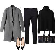 Le manteau, le pantalon, le pull, les chaussures et le sac. Si simple mais vraiement classe!