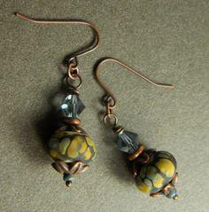 Rustic Copper Lampwork Earrings White Blue Yellow Etched OOAK