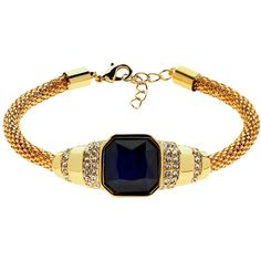 Monet Glass Stone Mesh Bracelet, Gold/Indigo (700 ZAR) ❤ liked on Polyvore featuring jewelry, bracelets, indigo jewelry, gold bangles, gold jewelry, swarovski crystal jewelry and mesh bangle