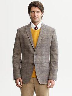 Tailored multi-plaid two-button blazer | Banana Republic