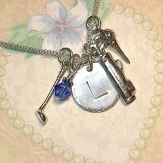 Golf Lovers Hand Stamped Sterling Silver Initial Charm Necklace by DolphinMoonCreations.com $42 Includes 3 Golf Themed Charms and one Swarovski Birthstone Crystal