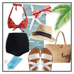 """""""Summer Time"""" by dhieta17 on Polyvore featuring K. Jacques, Hat Attack, Summer and beach"""