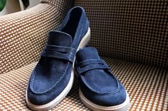 Blue Suede Penny Loafers by Buttero