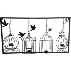 BIRDCAGE TEA LIGHT WALL ART METAL WALL HANGING CANDLE HOLDER BLACK 3D BIRD CAGE | eBay  sc 1 st  Pinterest & Bird Cage Wall Art Tea Light Candle Holder Black Metal Unusual ...