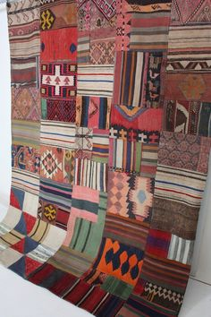 quilt blocks, from old kilims... would make a great 'new' rug...