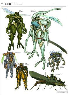 From Tamotsu Shinohara's book ICON. Alien Design, Robot Design, Game Concept Art, Character Concept, Beast Creature, Carapace, Robot Girl, Fantasy Beasts, Mecha Anime