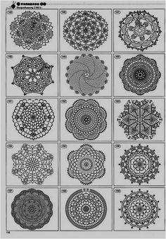 AMARNA IMAGENS: PANINHOS DE CROCHÊ - Com gráficos - Os números os quais as imagens pertencem estão nos gráficos.