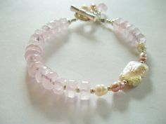 SALE Rose Quartz Freshwater Pearl and by LostElephantDesigns