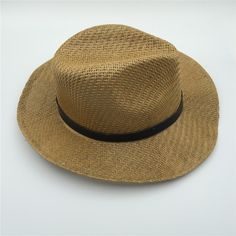 7568fdd7266 Straw Panama cowboy hat with flat edge and leather band