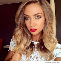 Awesome light brown hair color and red lips