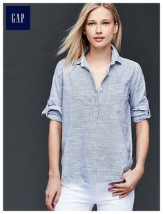 "Fine stripe henley - These tops were made by women that participate in <a href=""http://www.gap.com/pace""> P.A.C.E. </a>, our education program that gives women the skills and confidence to change their lives."
