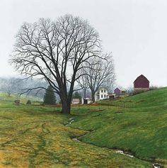 """Misty Morning== Spring Farm"" Glicee print of original Watercolor by Steven Kozar, The Artful Home"