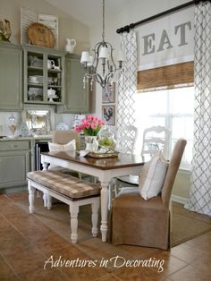 Table for Eat In Kitchen. Table for Eat In Kitchen. Eat In Kitchen Table Like the Round Table with One Bench Cortinas Country, Kitchen Decorating, Decorating Ideas, Decor Ideas, 31 Ideas, Window Decorating, Craft Ideas, Farmhouse Kitchen Curtains, Farmhouse Table