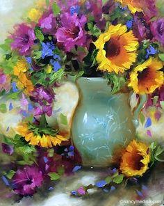 "Nancy Medina--Daily Paintworks - ""Fuschia Glads and Sunflowers and a New DVD - Flower Paintings by Nancy Medina"" - Original Fine Art for Sale - © Nancy Medina Flower Painting, Art Painting, Floral Art, Original Fine Art, Painting, Beautiful Paintings, Watercolor Flowers, Art, Art Wallpaper"