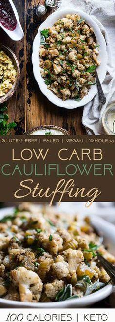 Cauliflower Low Carb Paleo Vegan Stuffing | Food Faith Fitness