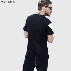 >> Click to Buy << VERSMA 2017 Hip Hop Streetwear GD Zipper Patchwork Boy T-shirts Men Summer High Street Loose BF Short Front Long Back Tshirt Men #Affiliate