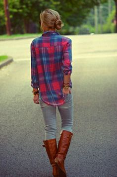 Riding boots and skinny jeans!