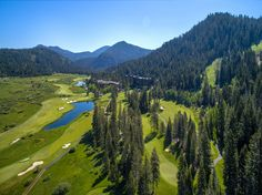 Aerial view of Links at Squaw Creek golf course at Resort at Squaw Creek.